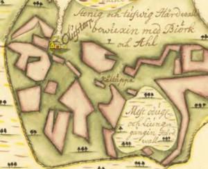 Olofstorp, 1724. Lantmäteriet, utsnitt.